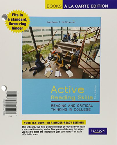 Active Reading Skills: Reading and Critical Thinking in College, Books a la Carte Edition (3rd Edition)