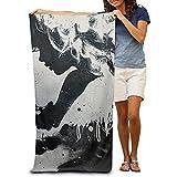 utong Toallas de Playa 100% algodón 80x130cm Toalla de Secado rápido para Nadadores Black Art Beach Blanket