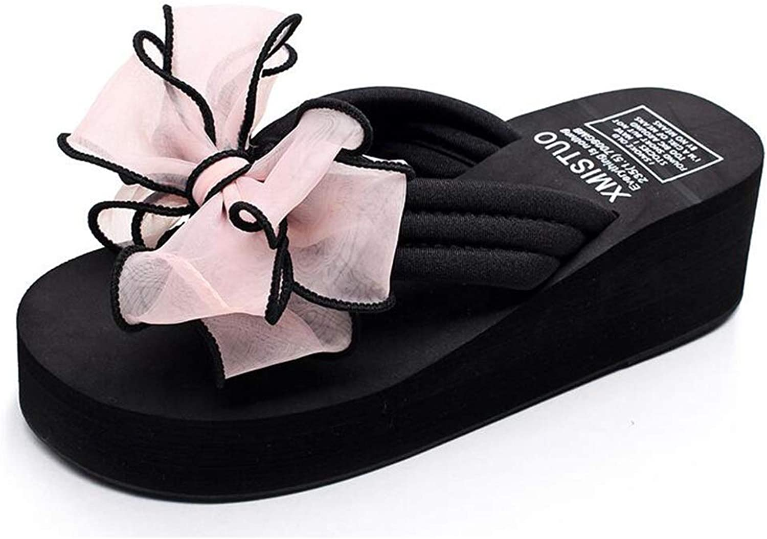Women's summer wedge sandals, bow flip-flops, non-slip thick-soled high-heeled sandals, girls' feet, fashion slippers