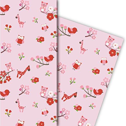 Kartenkaufrausch Süßes Kinder/Baby Geschenkpapier Set mit Eulen, Katzen und Giraffen für tolle Geschenk Verpackung, 4 Bögen, 32 x 48cm universal Packpapier um schöner zu schenken, basten