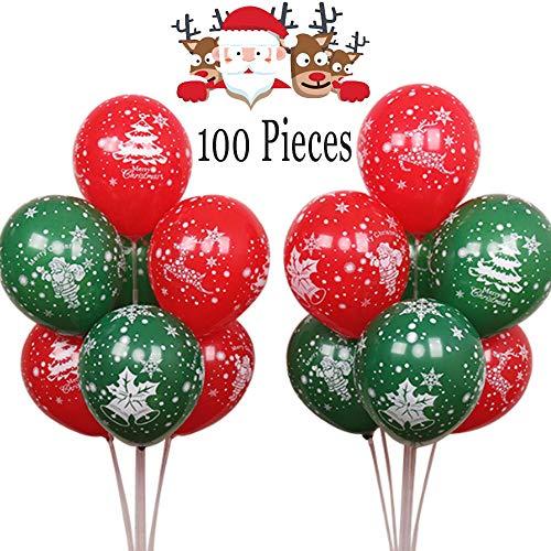 Nuluxi Globos Helio Navidad Rojo Y Verde Globos de Fiesta de Navidad Globos de decoración de Fiesta de Navidad Accesorio De Decoración Adornos para Navidad Año Nuevo Decoraciones de Partido-100 Piezas
