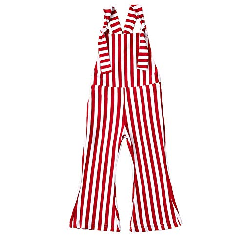 Toddler Baby Girl Bell-Bottom Jumpsuit Stripes Overalls Romper Suspender Pants Outfits (2-3 Years, Red)