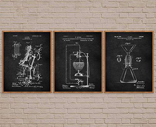 Posters Vintage Aesthetic Chemistry Lab Gift For Her Science Patent Print Art microscope vintage science art microscope art science student laboratory decor Vintage Wall Decor for Kitchen