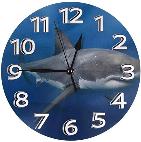 Reloj De Pared México Costa De Los Grandes Tiburones Blancos Reloj Número Redondo Números Arábigos Reloj Silencioso Sin Tictac Reloj Decoración Vida Colorida Cocina Escuela 9.5 Pulgadas