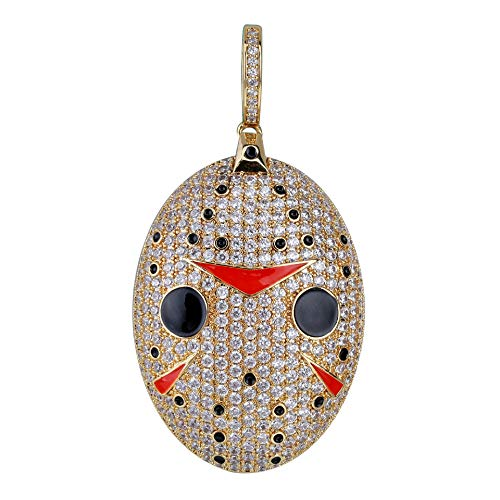 MoCa Hip Hop Iced Out Bling Chain Saw Clown CZ Pendant Halloween Cosplay Party Novelty Necklace