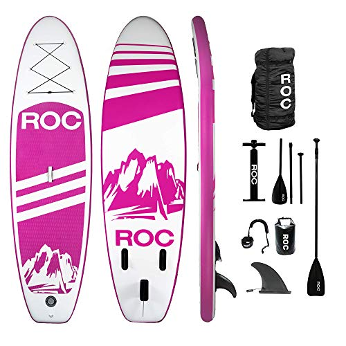 Roc Inflatable Stand Up Paddle Boards W Free Premium SUP Accessories & Backpack { Non-Slip Deck } Bonus Waterproof Bag, Leash, Paddle and Hand Pump !!! Youth & Adult (Pink)