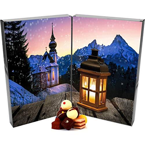 Hallingers 24 Pralinen-Adventskalender, mit/ohne Alkohol (300g) - Bergkirche (Buch-Karton) - zu Weihnachten Adventskalender