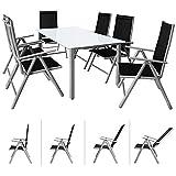 Casaria Conjunto de 1 Mesa y 6 sillas de Aluminio Bern con Respaldo reclinable Muebles de jardín...