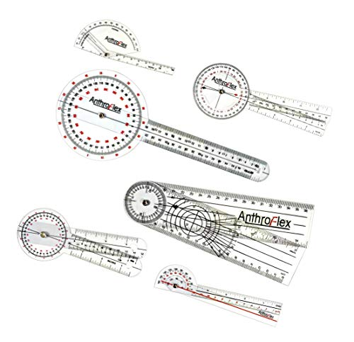 "AnthroFlex Goniometer Set of 6: 12"", 8"", 6"", 180, Finger, Spinal - to Measure Range of Motion of Joints for Physical Therapy and Occupational Therapy - cm and Inches, Made of Durable Plastic"
