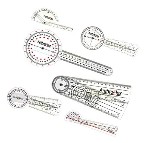 AnthroFlex Set de 6 Goniómetro Goniometro Plastico 30cm, 20cm, 15cm, 17cm, Dedo, Espinal