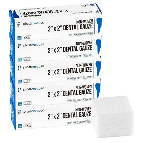 1000 4 Ply 2x2 Inch Non Woven Sponges, Non Sterile Dental Gauze, 5 Packs of 200