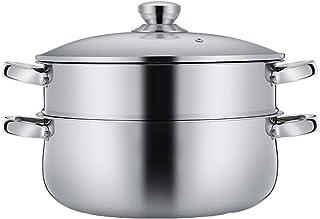 Vaporera con tapa de cristal, olla de cocción al vapor de alimentos, material: acero inoxidable 304Especificaciones: 30 cm, estufa aplicable: universal