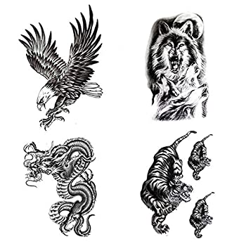 Large Temporary Tattoos Waterproof Fake Tattoo Realistic Eagle Wolf Tiger Dragon Animal Shaped Body Tattoo Stickers for Men Adults Boys Guy  Black 4 Sheets