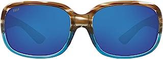 Costa Women's Gannet Polarized Rectangular Sunglasses, Shiny Wahoo Frame/Blue Mirror Lens 580P, 58 mm