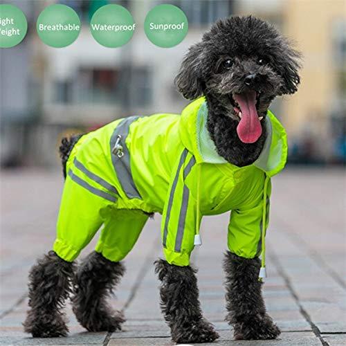 Pet clothes Dog Regen Mantel for Small Medium Hunde Wasserdichtes Welpen Regen Kleidung Reflektierende Dog Raincoat Breathable Frühling Pet-Overall Overall (Color : Green, Size : XL 16)