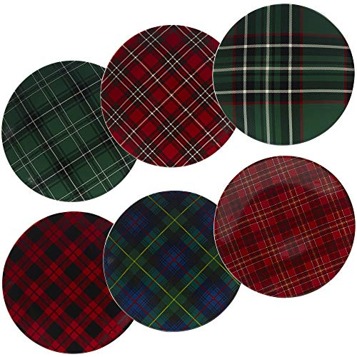 Certified International 22925SET6 Christmas Plaid 10.75' Dinner Plate, Set of 6 Assorted Designs, One Size, Multicolor