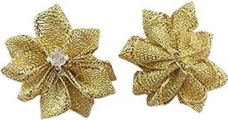DANDAN DIY Upick More Than 26 Colors 40PCS Satin Ribbon Flowers Bows Rose w/ Rhinestone Appliques Craft Wedding Dec (Gold)