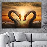 NIMCG Swan Lake Bird Sunset Wall Living Room Muebles Picture Poster Wall Art Canvas Painting Landscape 70x100cm (Sin Marco)