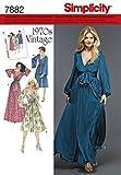 Simplicity S7882.H5 Patron de Couture Robes rétro Vintage 70's, Papier, Blanc, 21 x 15 x 1 cm