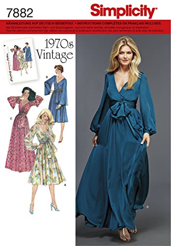 Burda Simplicity s7882.r5Schnittmuster Kleid Retro Vintage 70's Papier weiß 21x 15cm