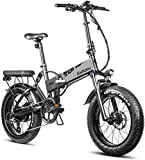 Eahora X7 750W Fat Tire Folding Electric Bike 48V Snow Beach Electric Bikes for Adults Dual Disc Brakes, Full Suspension, Removable Lithium Battery, E-PAS Recharge System, 7-Speed Gears