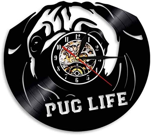 szhao British Bulldog Wall Clock Dog Breeds Bulldog Portrait Vinyl Wall Clock Wall Clock Pug Dog Wall Art Lovers Home Decor Clock