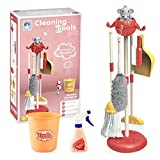 Kids Cleaning Set 8 Piece Housekeeping Toy - Kid-Sized Elephant Mop, Broom, Dustpan, Duster, Brush, Rag, Bottle and Organizing Stand - Detachable Pretend Play Toy for Toddlers Preschoolers (Red)