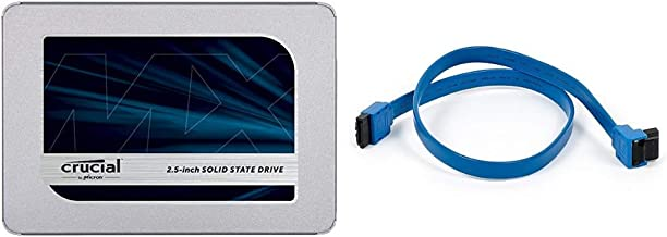Crucial MX500 1TB 3D NAND SATA 2.5 Inch Internal SSD - CT1000MX500SSD1(Z) & Monoprice 18-Inch SATA III 6.0 Gbps Cable with Locking Latch and 90-Degree Plug - Blue
