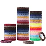 50PCS Hair Ties for women, Ponytail Holders with Seamless Cotton Elastic Hair Bands,4 Styles and 20 Colors