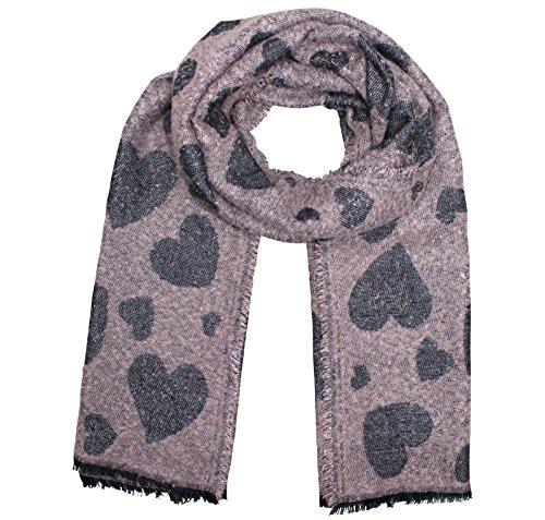 PiriModa XXL dames glitter hart sjaal plafond sjaal wintersjaal omkeerbare sjaal doek 180cmx70cm