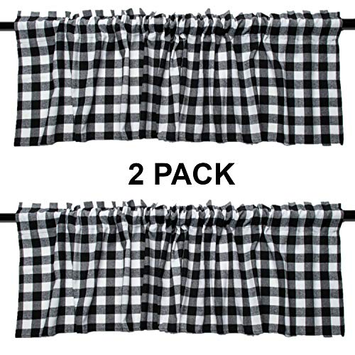 2 Pack Buffalo Check Plaid Cotton Window Valances White and Black Farmhouse Design Window Treatment Decor Curtains Rod Pocket Valances for Kitchen/Living Room 16