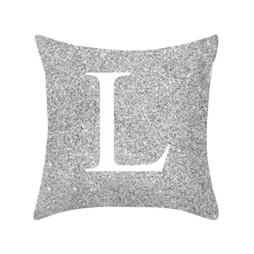 good01 Pillow Case Silver Metal Letter Peach Cashmere, A-Z Letters Silver Metallic Throw Pillow Case Cushion Cover Home Sofa Bed Decor L