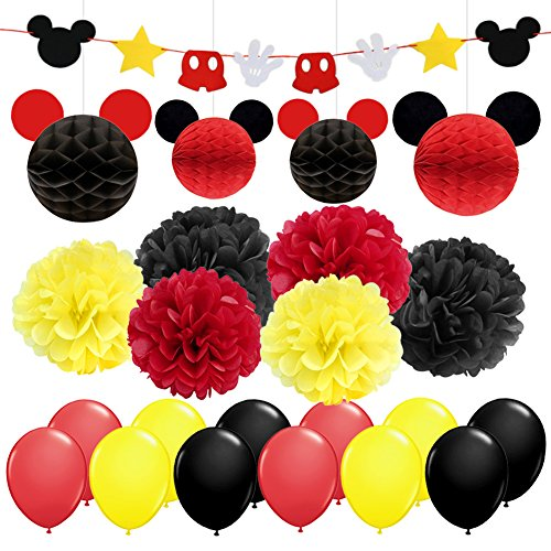 Mickey Themed Party Supplies & Decorations Yellow Black Red Mickey Themed Birthday Decorations Garland Banner Tissue Paper Pompoms Paper Balls for Birthday Party Baby Shower