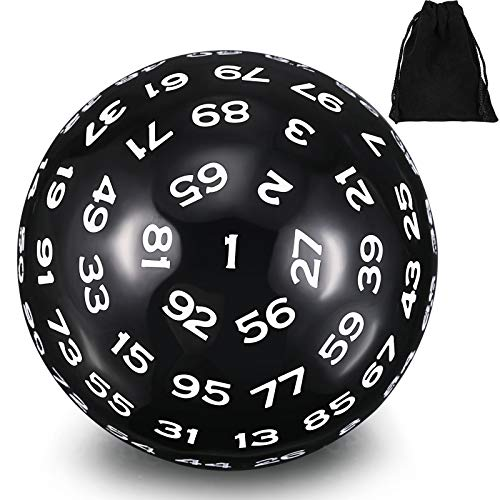 Un Dado Poliédrico de 100 Caras Dados para Juego D100 de Color Negro con Números Blancos Cubo de 100 Caras con Bolsa Negra, 45 mm
