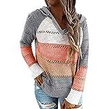 Sfit Jersey de punto para mujer, con capucha, a rayas, bloque de color, de manga larga, cuello en V, con capucha, patchwork, informal, cordón, jersey naranja XL