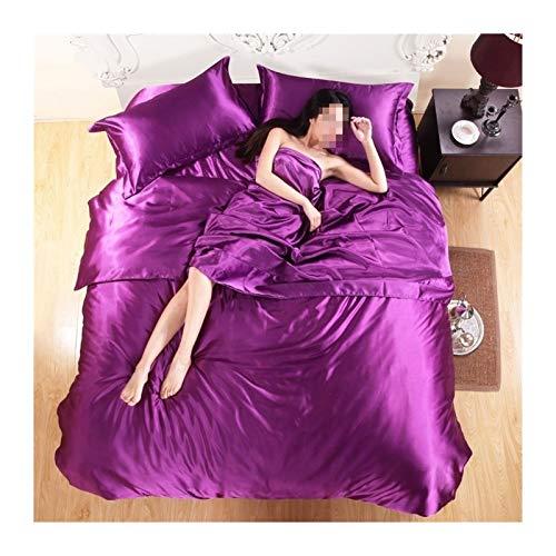 Ropa de cama Ropa de cama de satén de seda de color puro, grupo de cama grande de materia textil, ropa de cama, cubierta, paquete de almohada forros de cama ( Color : Violet , Size : 3pcs No sheets )