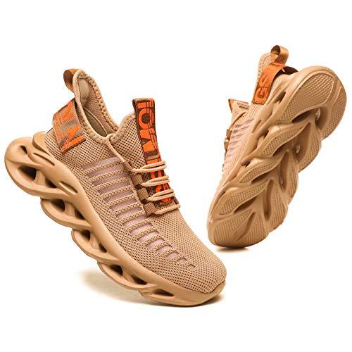 GSLMOLN Herren Laufschuhe Fitness straßenlaufschuhe Sneaker Sportschuhe atmungsaktiv Gym Schuhe Braun 41