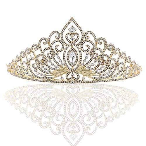 WMYATING Corona nupcial de oro de la corona del diamante de la garra de la cadena del