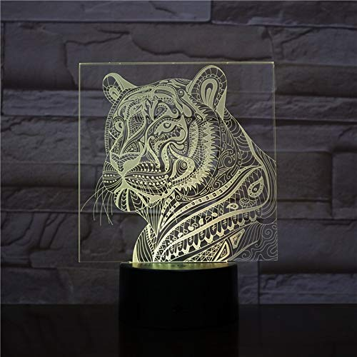 Only 1 Piece LED Night Light Tiger Lamp Touch Sensor Child Kid Baby Gift Nightlight Animal Home Decor Lighting Tiger Head 3D Lamp