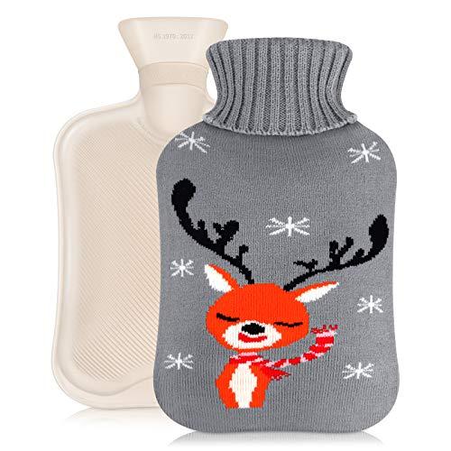 DIAOCARE Bolsa de agua caliente con funda, 2 litros, con funda de punto, cojín de calor, para niños, bebés y adultos, segura y duradera, color gris