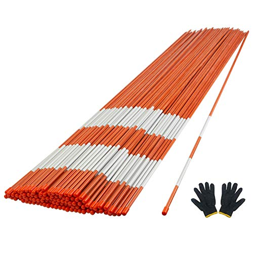"""YOHEER Driveway Markers, 50 PCS Snow Stakes 5/16"""" Diameter Fiberglass Reflective Hi-Visibility Safety Orange Snow Poles with Protection Gloves for Parking Lots, Walkways (50 PCS)"""