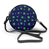 BAODANLA Bolso redondo mujer Women's Round PU Leather Crossbody Messenger Shoulder Bag Green Weed Plant Snow Skulls Circle Tote Hobo Bag For Ladies Sling Bag
