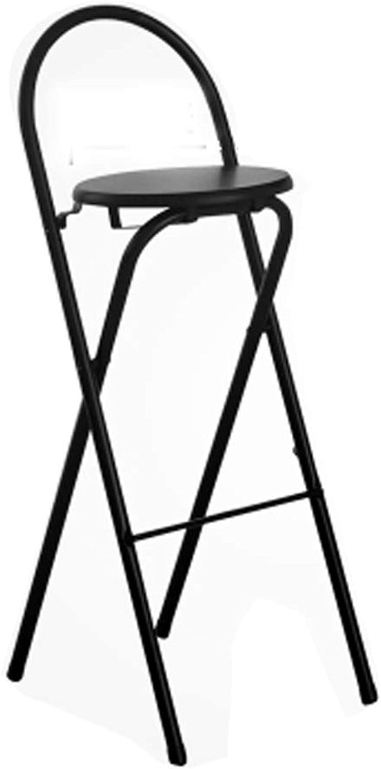 Barstool Nordic Wrought Iron Folding Chair Home Back Simple Portable White Black Wood color (color   Black)