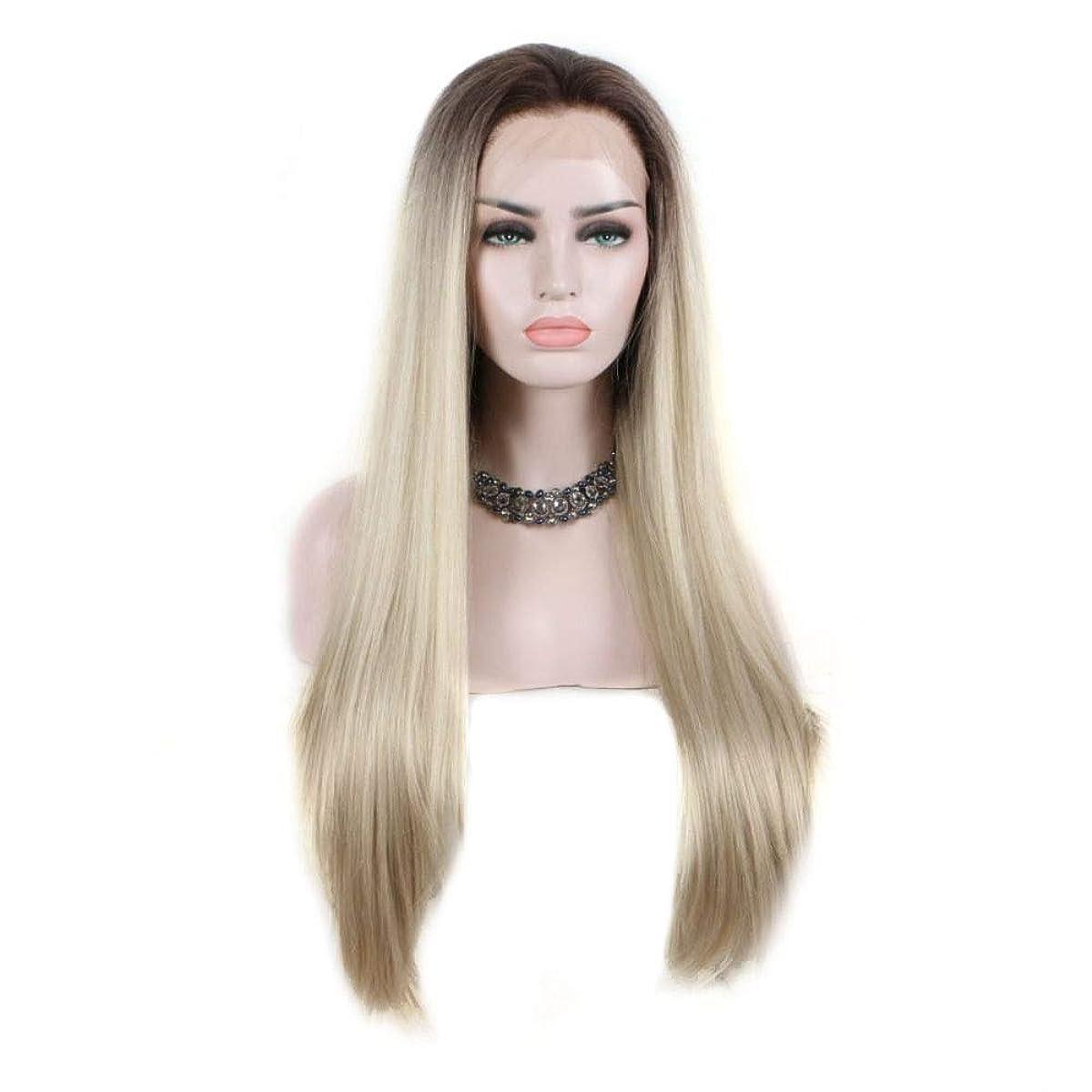 一般ローラー心配Yrattary 女性のブロンドの勾配ロングストレートヘア高温合成レースフロントかつら合成ヘアレースかつらロールプレイングかつら (色 : Blonde)