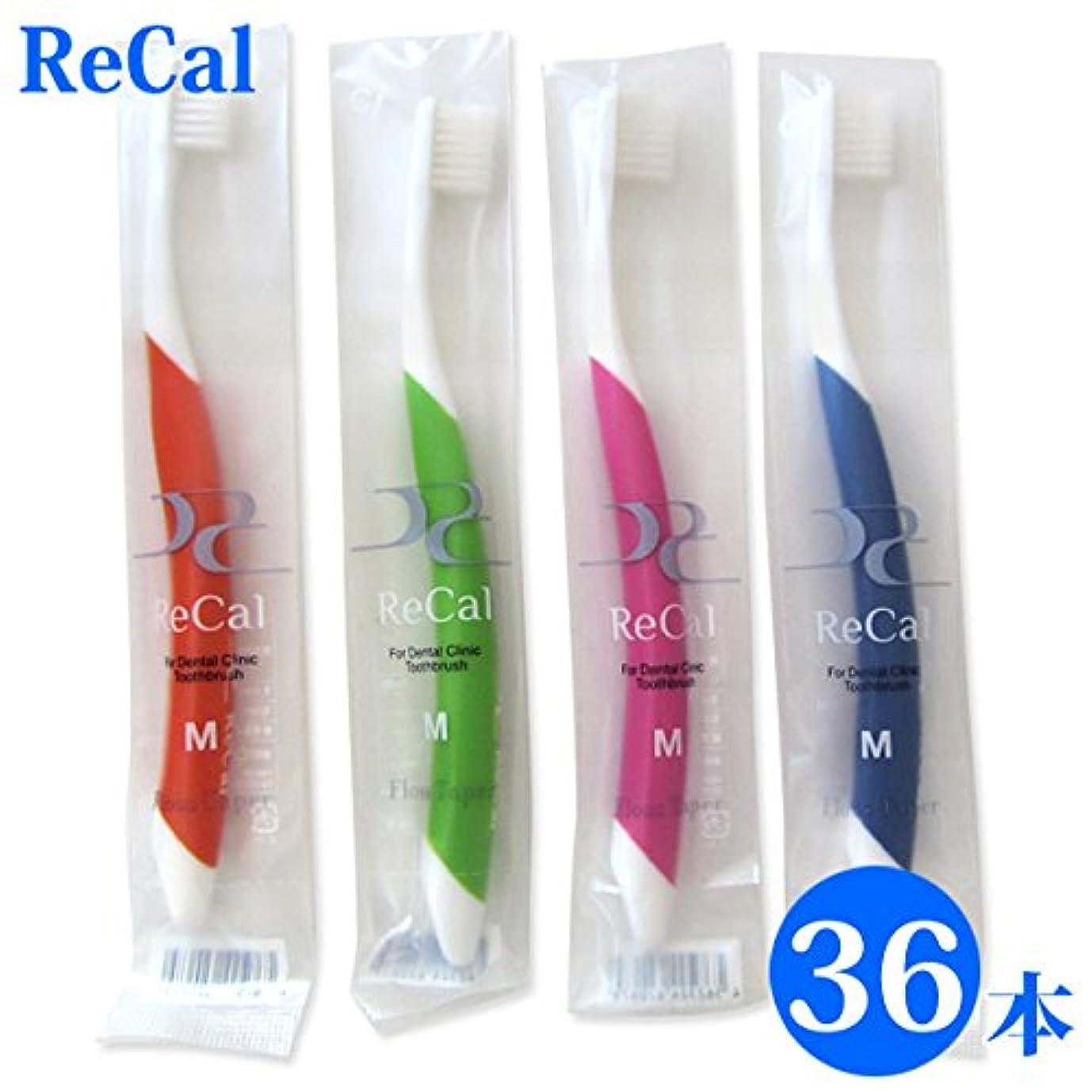 衝突コース根絶する病気の36本入り 歯科医院専用商品 ReCal リカル M 大人用 一般 歯ブラシ4色アソート
