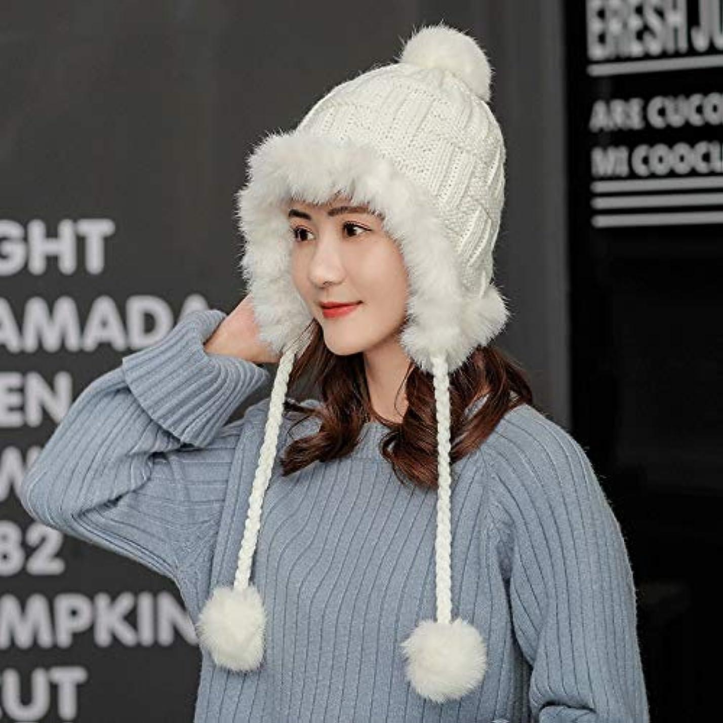 社会学広げる深めるHVTKLN 甘くて素敵な耳の毛玉ニット帽子潮のウールキャップ雷鋒帽子女性の秋と冬の日暖かい冬の韓国語バージョン HVTKLN (Color : Milk white, Size : 55-60CM)