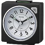 リズム時計 目覚まし時計 アナログ 小さい かわいい デイリーRA27 連続秒針 ライト 付き カラフル 時計 黒 DAILY (デイリー) 8REA27DN02