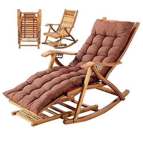 WFFF Silla Mecedora para Exteriores Sillón de Madera de bambú Tumbona de Playa Sillón reclinable Silla portátil Plegable de Gravedad Cero con reposapiés y cojín MAX.Soporte 2