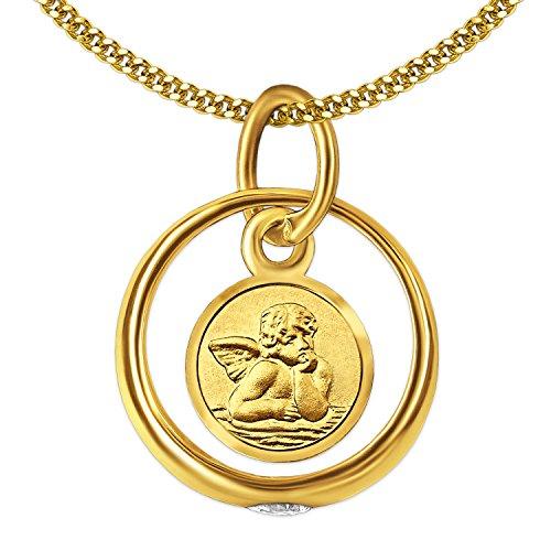 CLEVER SCHMUCK Set Goldener Kleiner Taufring mit Einhänger Engel rund und Zirkonia weiß glänzend 333 Gold 8 Karat mit vergoldeter Kette Panzer 36 cm