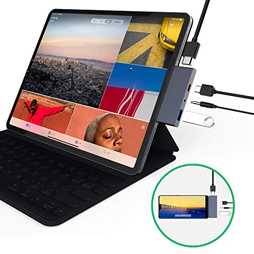 USB C Hub Adapter for ipad pro 2018/2019, 4 in 1 Type-C Adapter with USB-C PD Charging, USB 3.0 & 3.5 mm Headphone Jack, 4K HDMI Compatible with Mac Pro, Samsung S8/S9/S10, Note 8/9